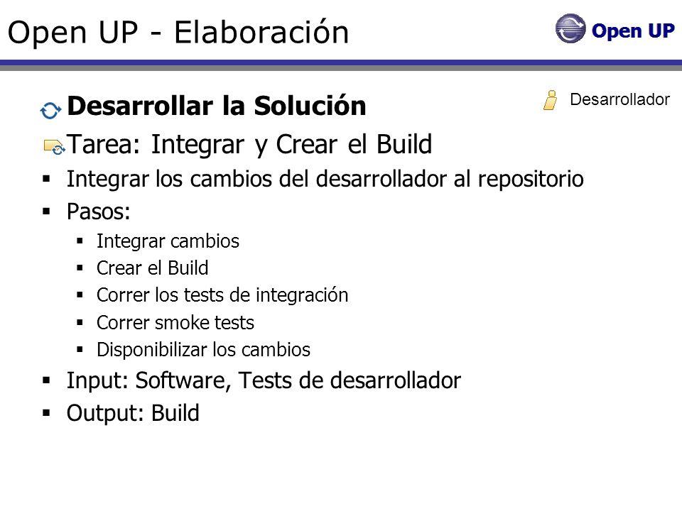 Open UP - Elaboración Desarrollar la Solución Tarea: Integrar y Crear el Build Integrar los cambios del desarrollador al repositorio Pasos: Integrar c