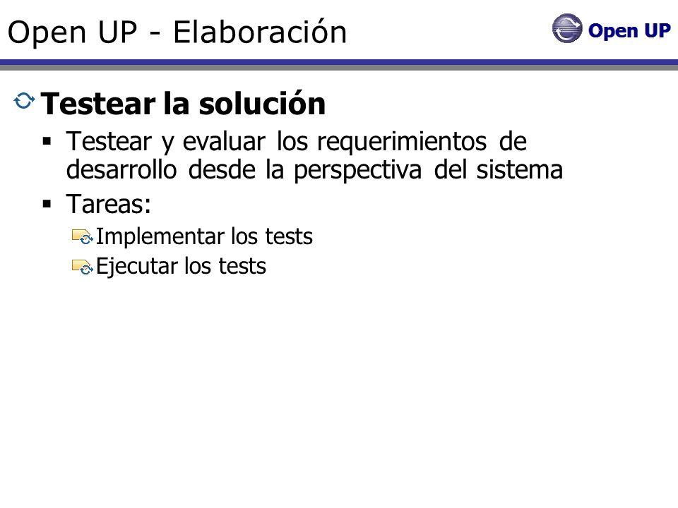 Open UP - Elaboración Testear la solución Testear y evaluar los requerimientos de desarrollo desde la perspectiva del sistema Tareas: Implementar los