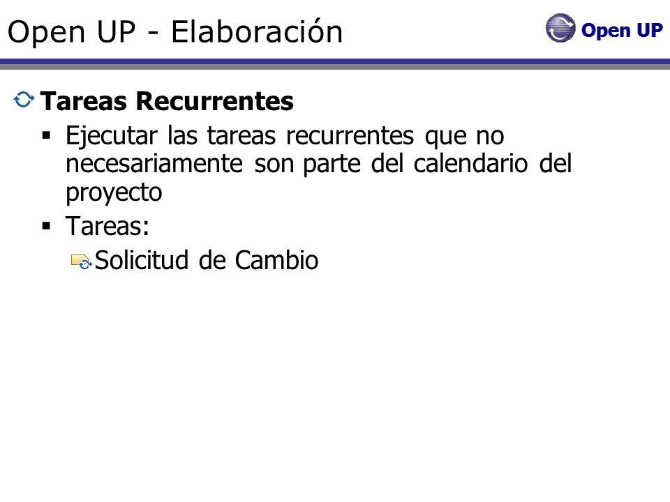 Open UP - Elaboración Tareas Recurrentes Ejecutar las tareas recurrentes que no necesariamente son parte del calendario del proyecto Tareas: Solicitud