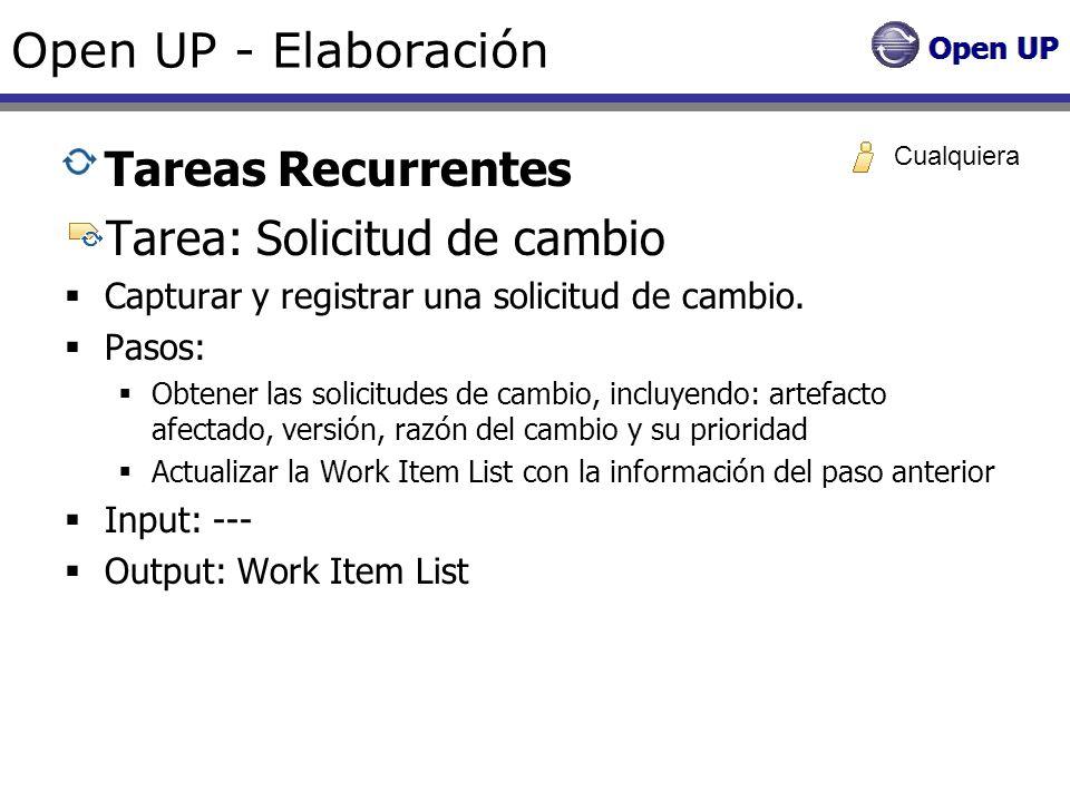 Open UP - Elaboración Tareas Recurrentes Tarea: Solicitud de cambio Capturar y registrar una solicitud de cambio. Pasos: Obtener las solicitudes de ca