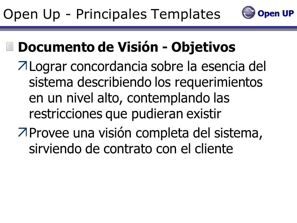 Open Up - Principales Templates Documento de Visión - Objetivos Lograr concordancia sobre la esencia del sistema describiendo los requerimientos en un