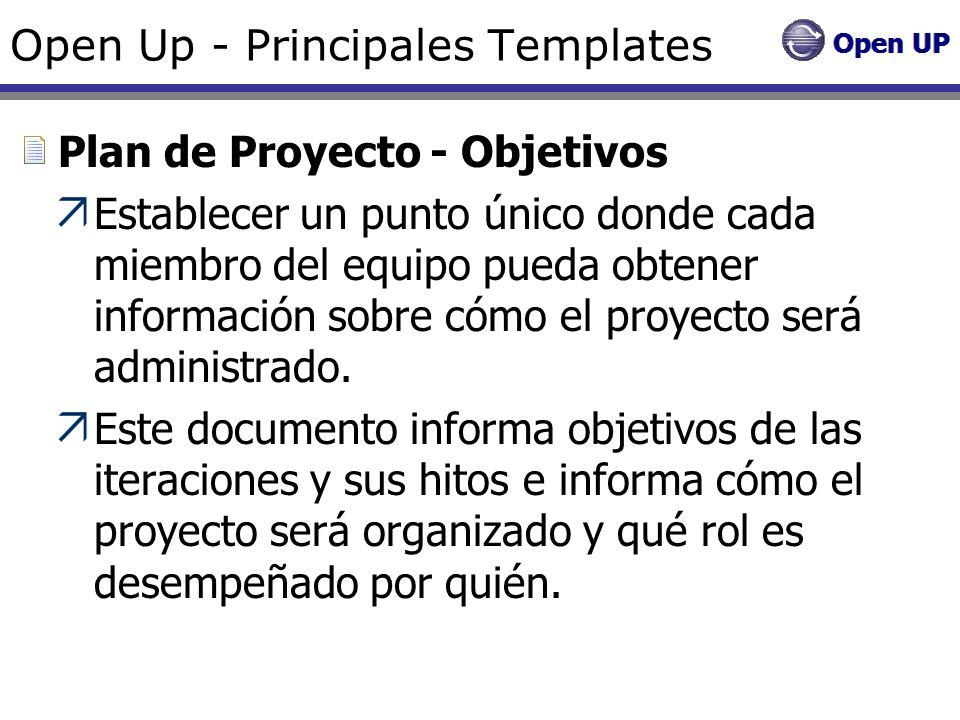 Open Up - Principales Templates Plan de Proyecto - Objetivos Establecer un punto único donde cada miembro del equipo pueda obtener información sobre c