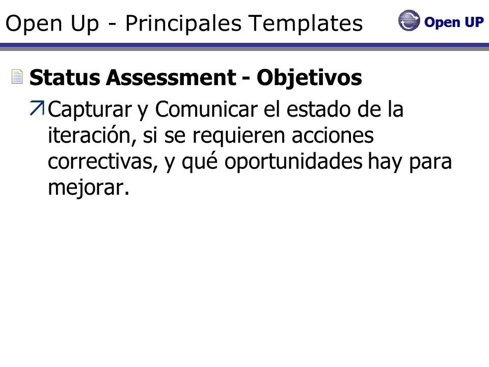 Open Up - Principales Templates Status Assessment - Objetivos Capturar y Comunicar el estado de la iteración, si se requieren acciones correctivas, y