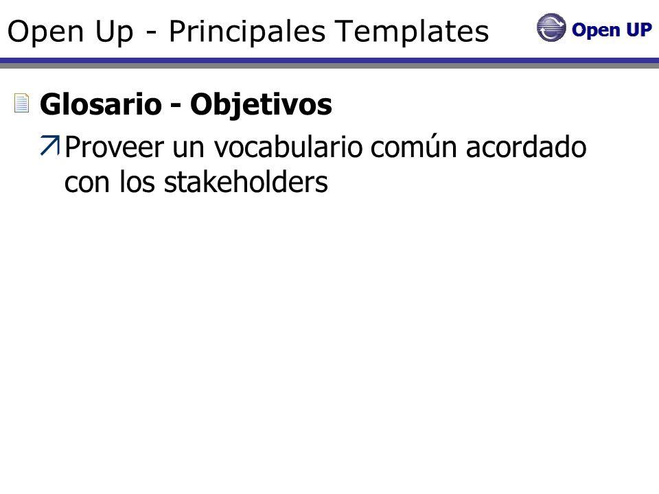 Open Up - Principales Templates Glosario - Objetivos Proveer un vocabulario común acordado con los stakeholders