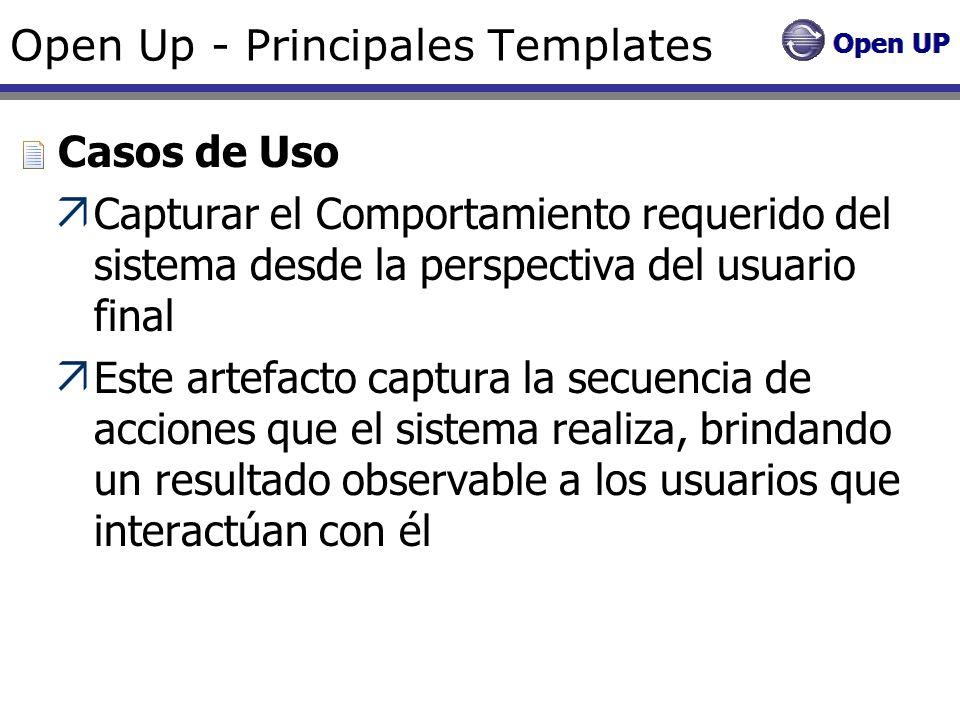 Open Up - Principales Templates Casos de Uso Capturar el Comportamiento requerido del sistema desde la perspectiva del usuario final Este artefacto ca