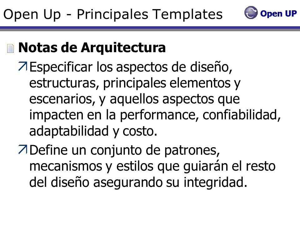 Open Up - Principales Templates Notas de Arquitectura Especificar los aspectos de diseño, estructuras, principales elementos y escenarios, y aquellos