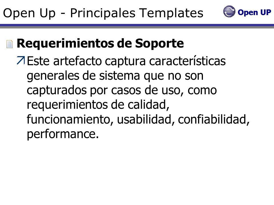Open Up - Principales Templates Requerimientos de Soporte Este artefacto captura características generales de sistema que no son capturados por casos