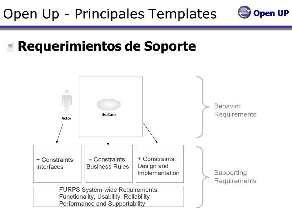 Open Up - Principales Templates Requerimientos de Soporte