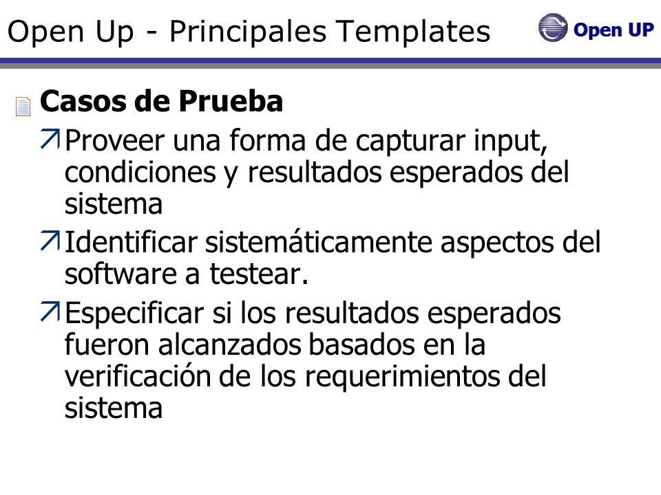 Open Up - Principales Templates Casos de Prueba Proveer una forma de capturar input, condiciones y resultados esperados del sistema Identificar sistem