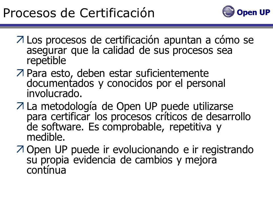 Procesos de Certificación Los procesos de certificación apuntan a cómo se asegurar que la calidad de sus procesos sea repetible Para esto, deben estar