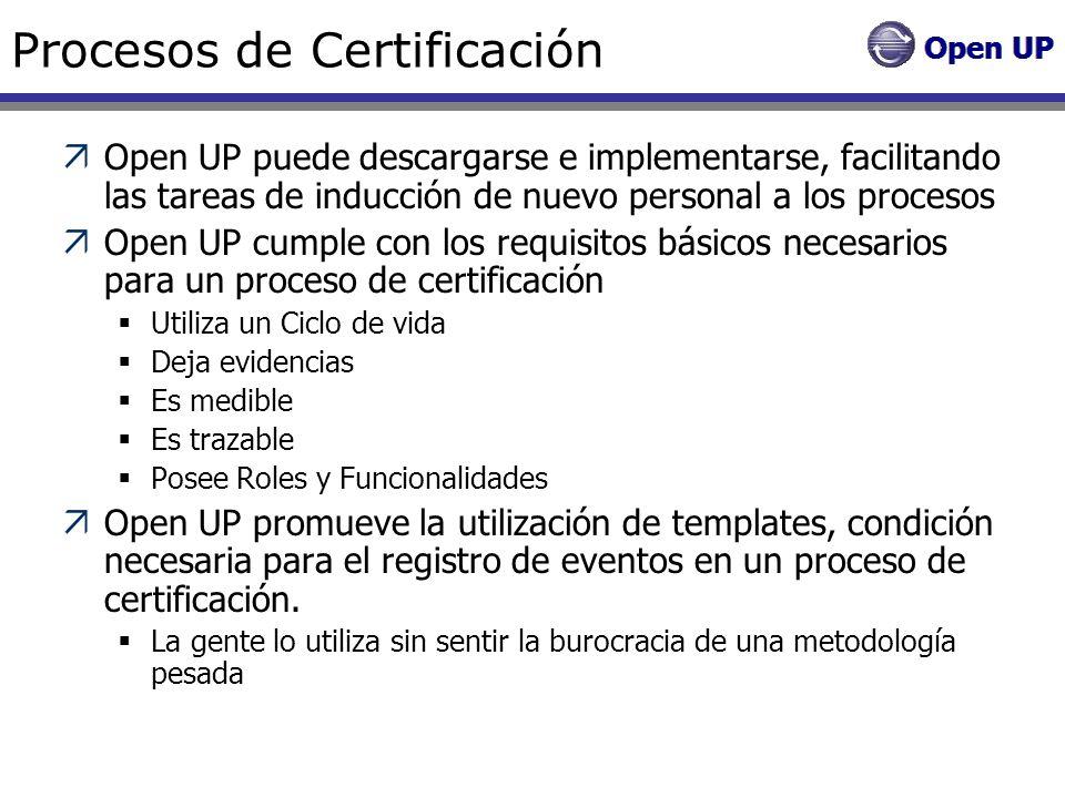 Procesos de Certificación Open UP puede descargarse e implementarse, facilitando las tareas de inducción de nuevo personal a los procesos Open UP cump