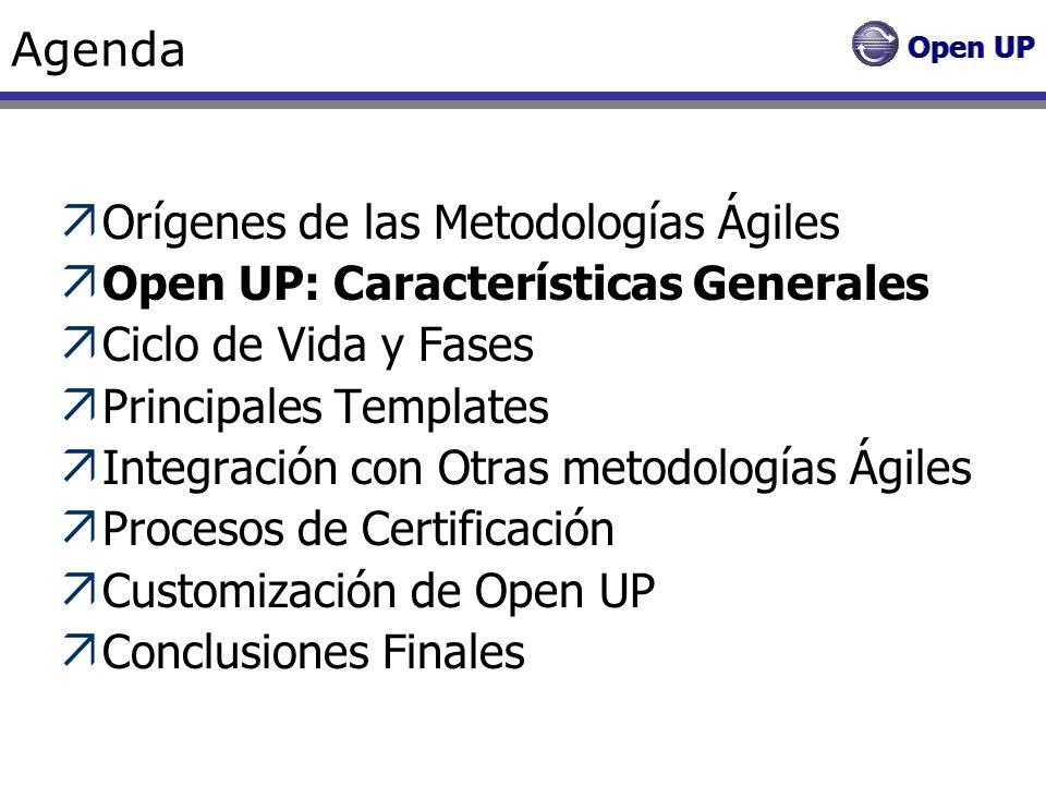 Open UP OpenUp es un marco de trabajo para procesos de desarrollo de software Fue liberado por el Eclipse Process Framework (EPF) OpenUp se construyó sobre una donación realizada por IBM del Basic Unified Process.