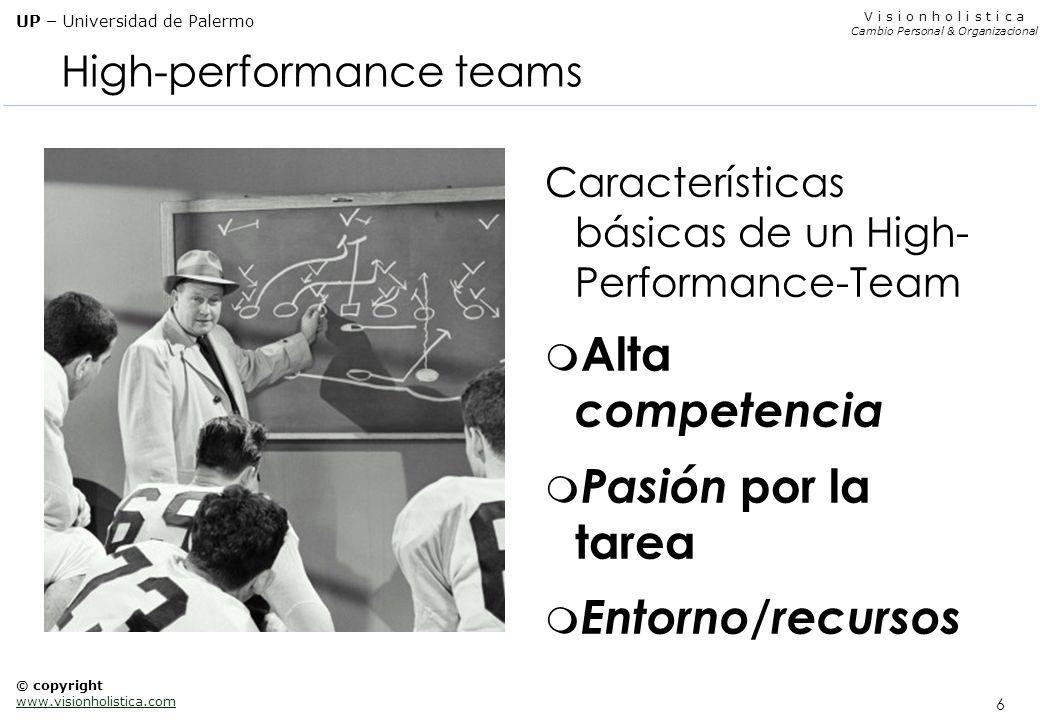 6 V i s i o n h o l i s t i c a Cambio Personal & Organizacional UP – Universidad de Palermo © copyright www.visionholistica.com High-performance team