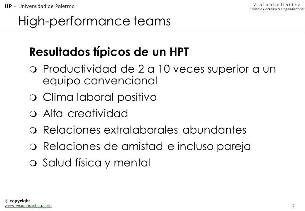 7 V i s i o n h o l i s t i c a Cambio Personal & Organizacional UP – Universidad de Palermo © copyright www.visionholistica.com High-performance team