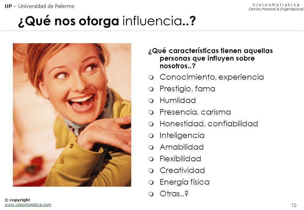 9 V i s i o n h o l i s t i c a Cambio Personal & Organizacional UP – Universidad de Palermo © copyright www.visionholistica.com Las 3 características