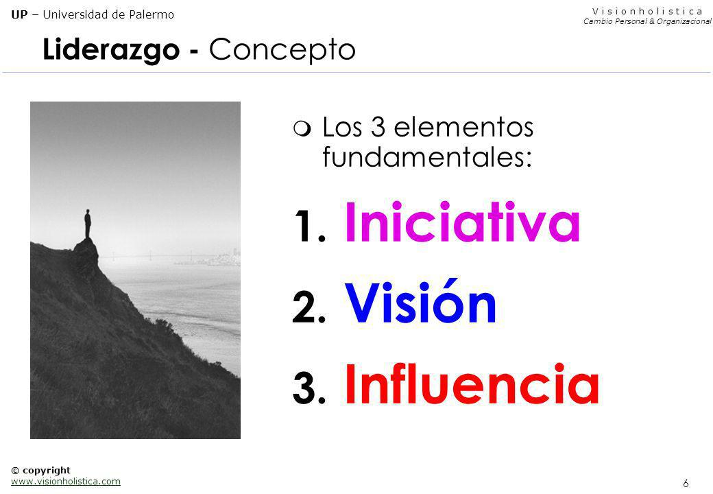 26 V i s i o n h o l i s t i c a Cambio Personal & Organizacional UP – Universidad de Palermo © copyright www.visionholistica.com Bibliografía general m Kenneth Blanchard Management of Organizational Behaviour The One-Minute Manager m John P.