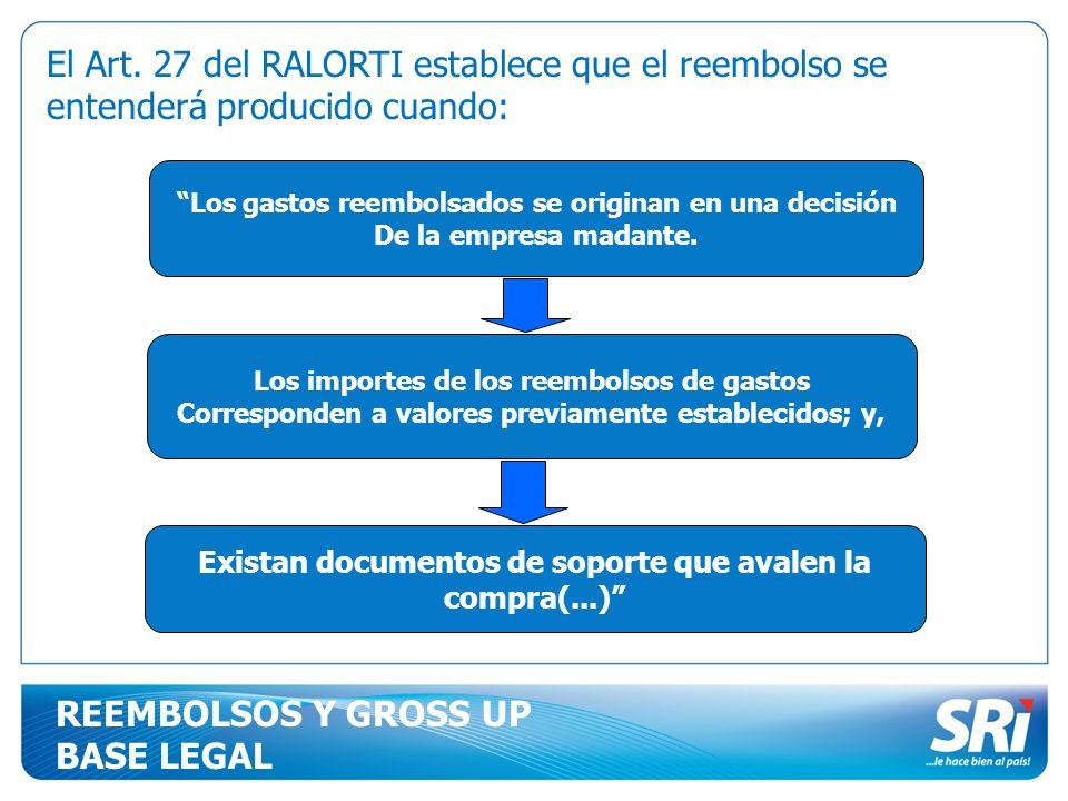 El Art. 27 del RALORTI establece que el reembolso se entenderá producido cuando: Los gastos reembolsados se originan en una decisión De la empresa mad