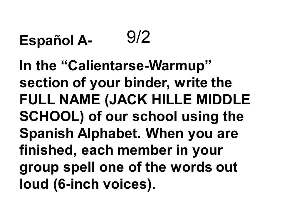 9/20 A- Complete the sentences: 1.Me llam_ Pablo.