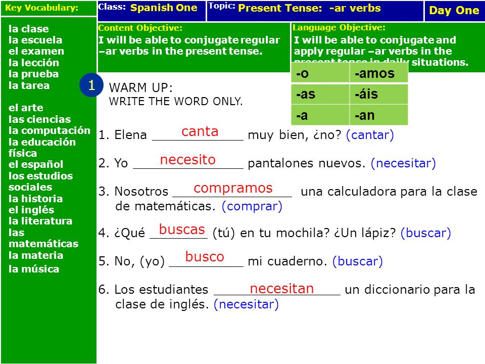 Spanish One Language Objective: Topic: Class: Content Objective: Day one Language Objective: Topic: Class: Content Objective: Day One Present Tense: -ar verbs I will be able to conjugate regular –ar verbs in the present tense.