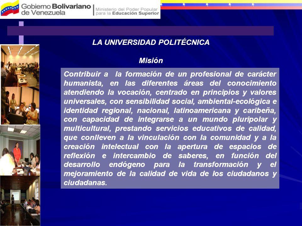 LA UNIVERSIDAD POLITÉCNICA Misión Contribuir a la formación de un profesional de carácter humanista, en las diferentes áreas del conocimiento atendien