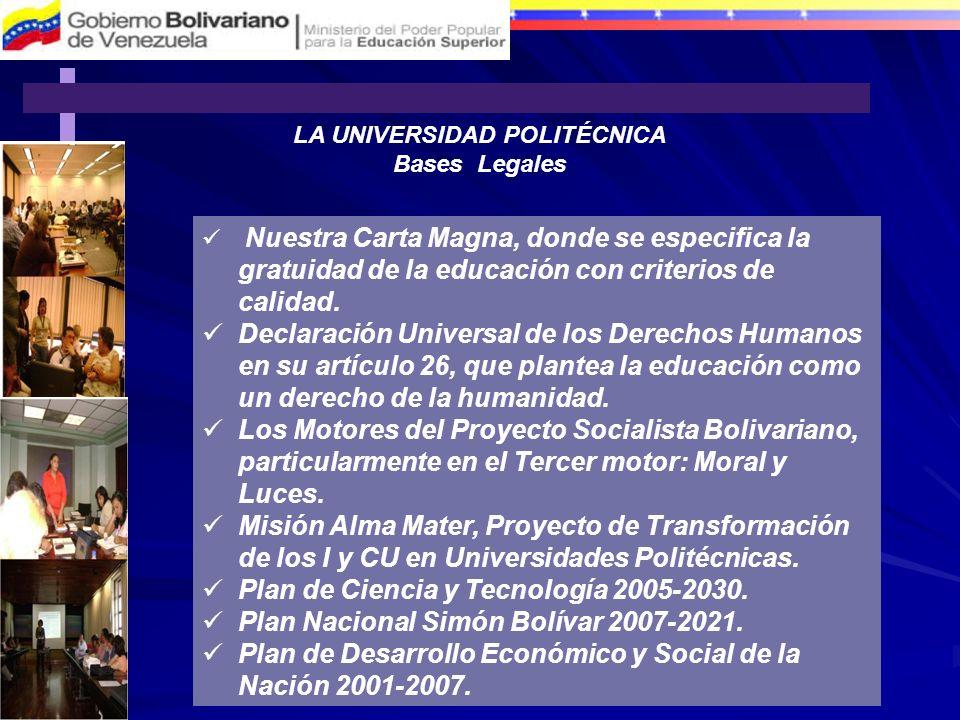 LA UNIVERSIDAD POLITÉCNICA Bases Legales Nuestra Carta Magna, donde se especifica la gratuidad de la educación con criterios de calidad. Declaración U