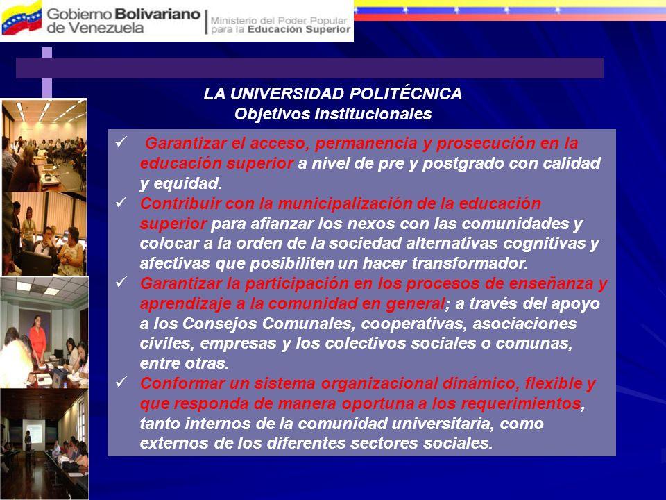 LA UNIVERSIDAD POLITÉCNICA Objetivos Institucionales Garantizar el acceso, permanencia y prosecución en la educación superior a nivel de pre y postgra