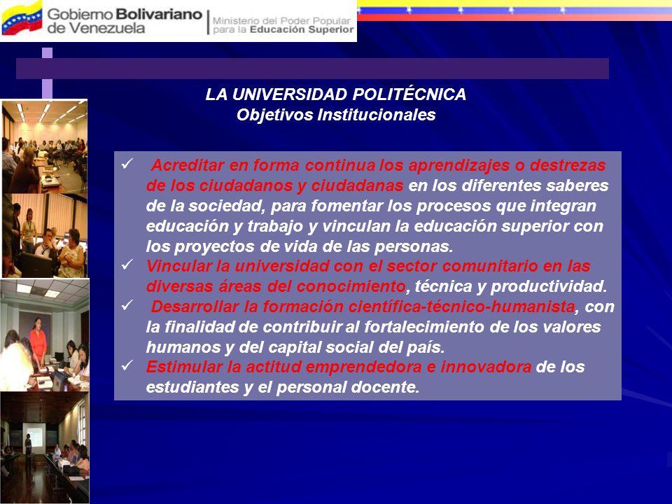 LA UNIVERSIDAD POLITÉCNICA Objetivos Institucionales Acreditar en forma continua los aprendizajes o destrezas de los ciudadanos y ciudadanas en los di
