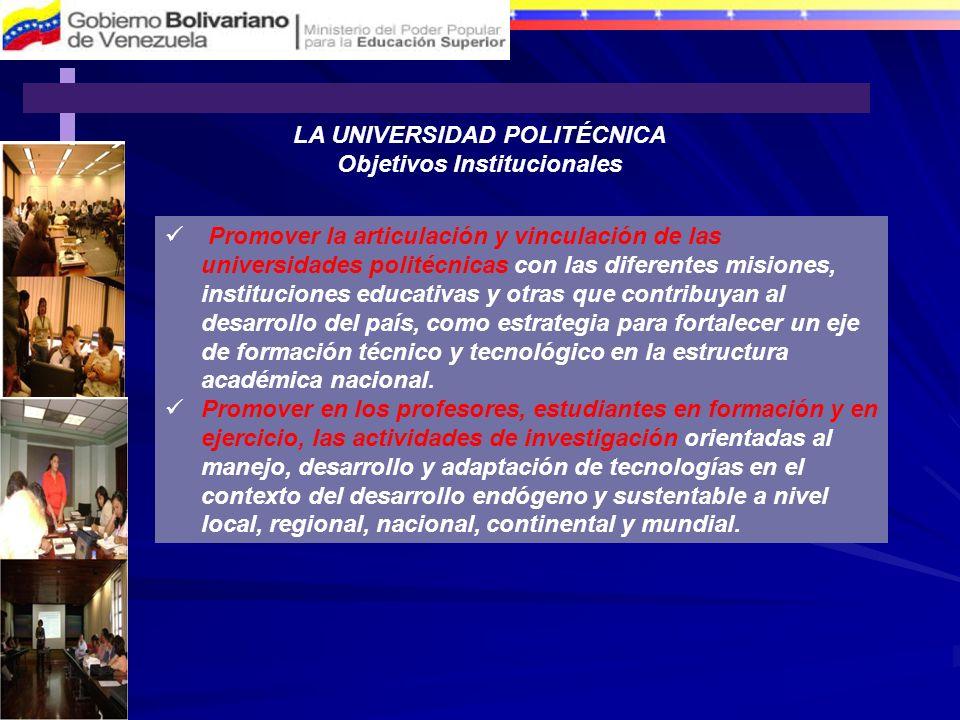 LA UNIVERSIDAD POLITÉCNICA Objetivos Institucionales Promover la articulación y vinculación de las universidades politécnicas con las diferentes misio