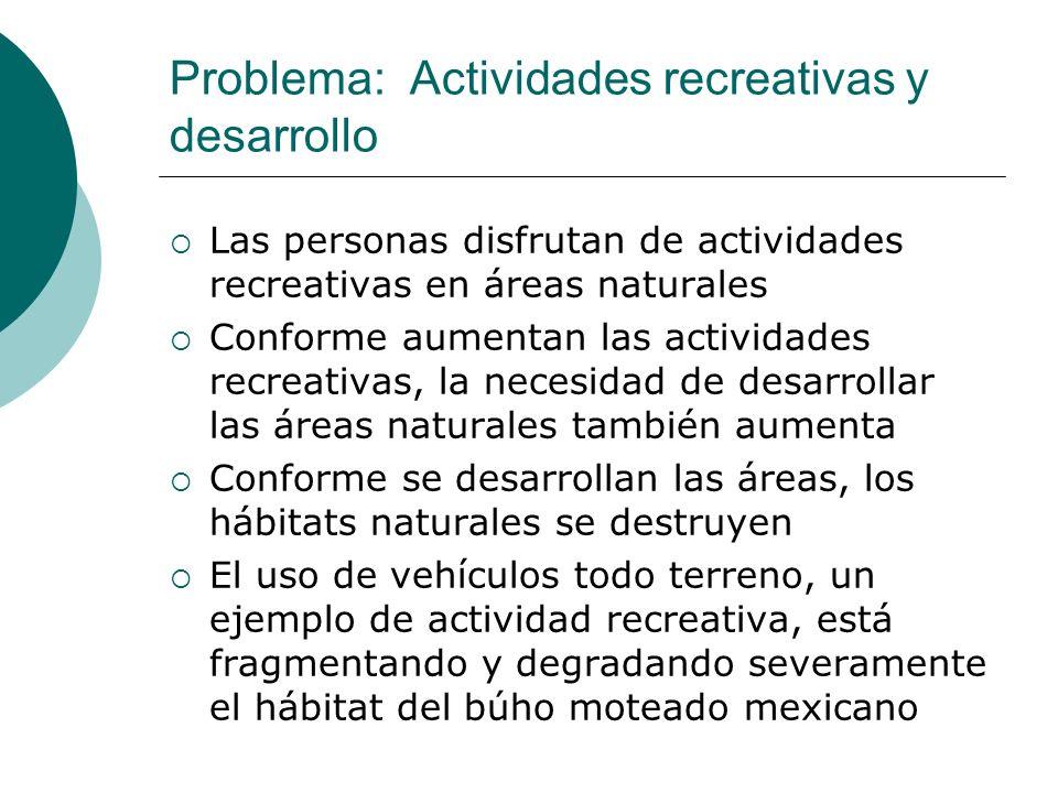 Problema: Actividades recreativas y desarrollo Las personas disfrutan de actividades recreativas en áreas naturales Conforme aumentan las actividades