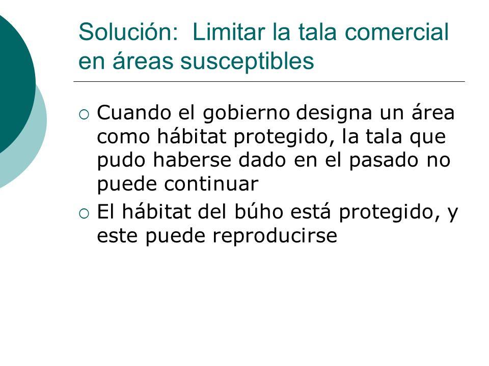 Solución: Limitar la tala comercial en áreas susceptibles Cuando el gobierno designa un área como hábitat protegido, la tala que pudo haberse dado en