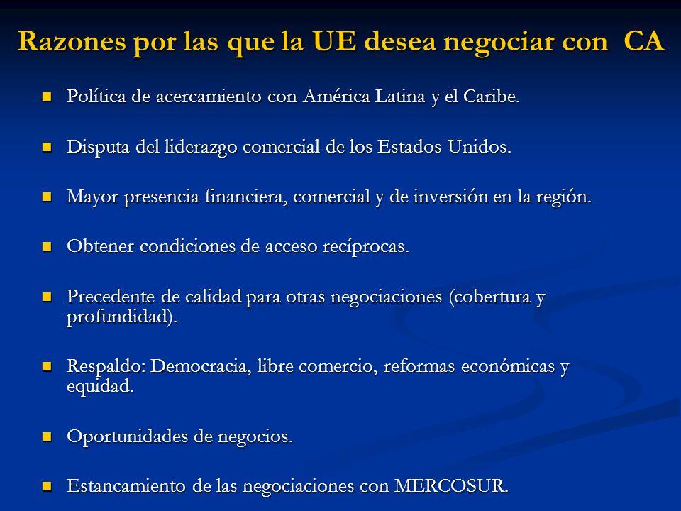 Razones por las que la UE desea negociar con CA Política de acercamiento con América Latina y el Caribe. Política de acercamiento con América Latina y