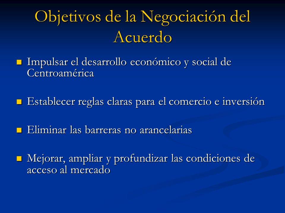 Objetivos de la Negociación del Acuerdo Impulsar el desarrollo económico y social de Centroamérica Impulsar el desarrollo económico y social de Centro