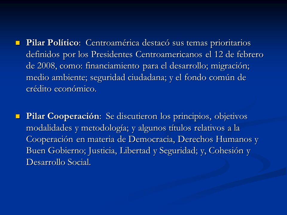 Pilar Político: Centroamérica destacó sus temas prioritarios definidos por los Presidentes Centroamericanos el 12 de febrero de 2008, como: financiami