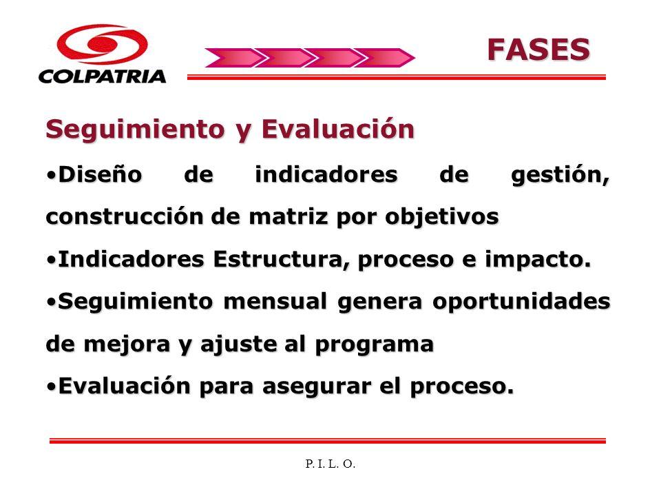 P. I. L. O. FASES Seguimiento y Evaluación Diseño de indicadores de gestión, construcción de matriz por objetivosDiseño de indicadores de gestión, con