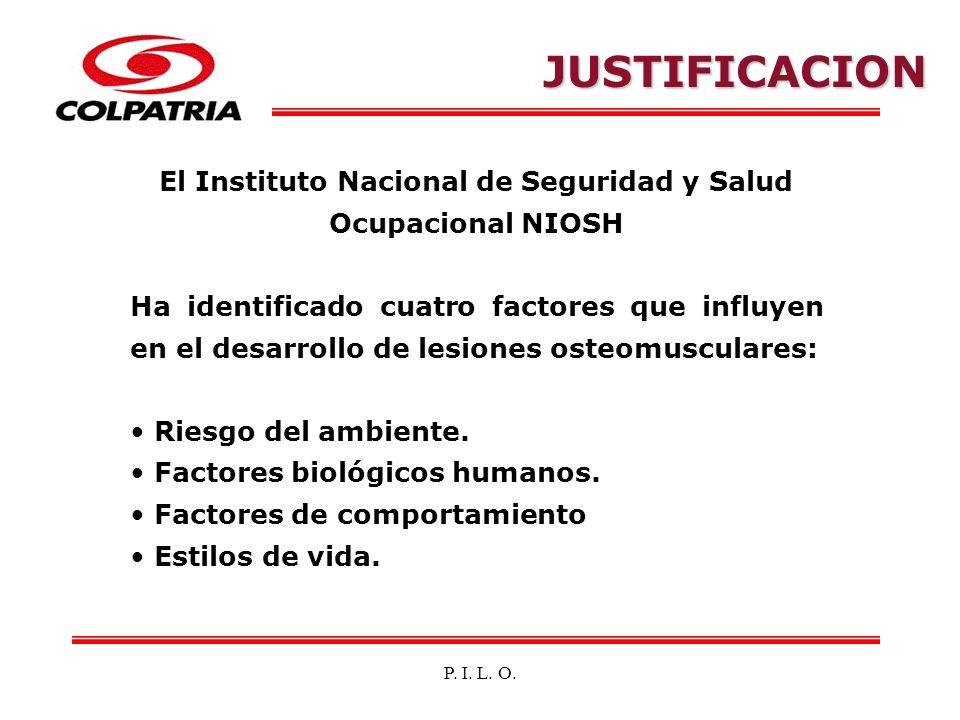 P. I. L. O. El Instituto Nacional de Seguridad y Salud Ocupacional NIOSH Ha identificado cuatro factores que influyen en el desarrollo de lesiones ost