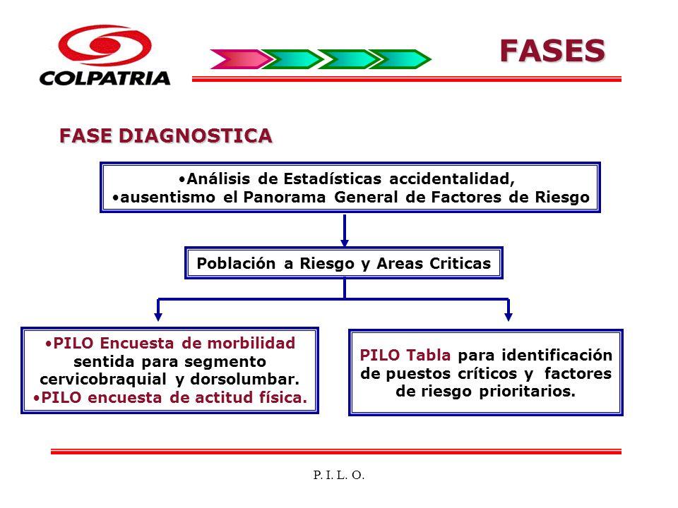 FASE DIAGNOSTICA Análisis de Estadísticas accidentalidad, ausentismo el Panorama General de Factores de Riesgo PILO Encuesta de morbilidad sentida par