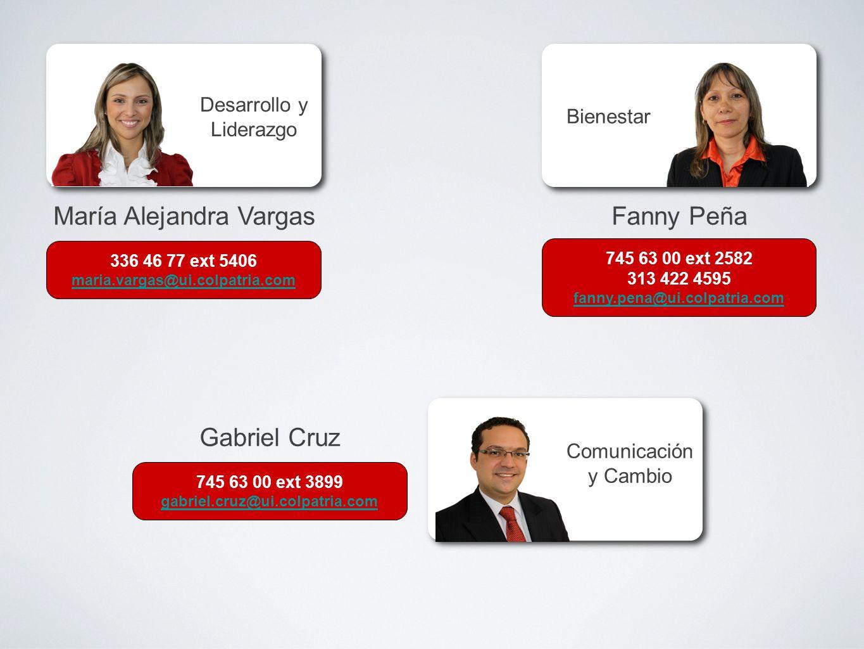 María Alejandra VargasFanny Peña Gabriel Cruz Desarrollo y Liderazgo Bienestar Comunicación y Cambio 336 46 77 ext 5406 maria.vargas@ui.colpatria.com