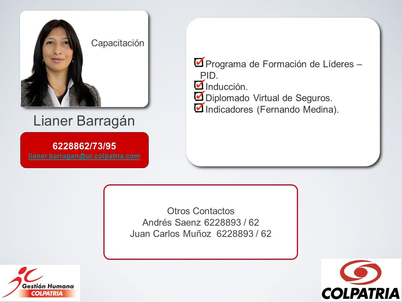 Lianer Barragán Capacitación Programa de Formación de Líderes – PID. Inducción. Diplomado Virtual de Seguros. Indicadores (Fernando Medina). Programa