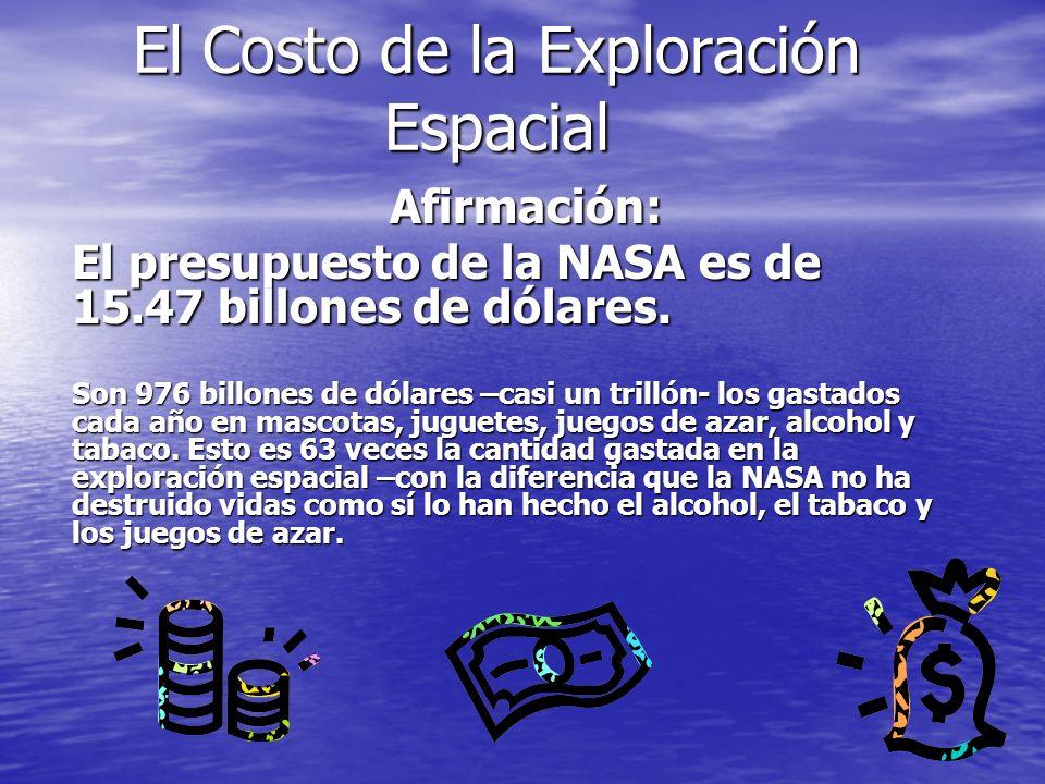 El Costo de la Exploración Espacial Afirmación: Afirmación: El presupuesto de la NASA es de 15.47 billones de dólares. Son 976 billones de dólares –ca