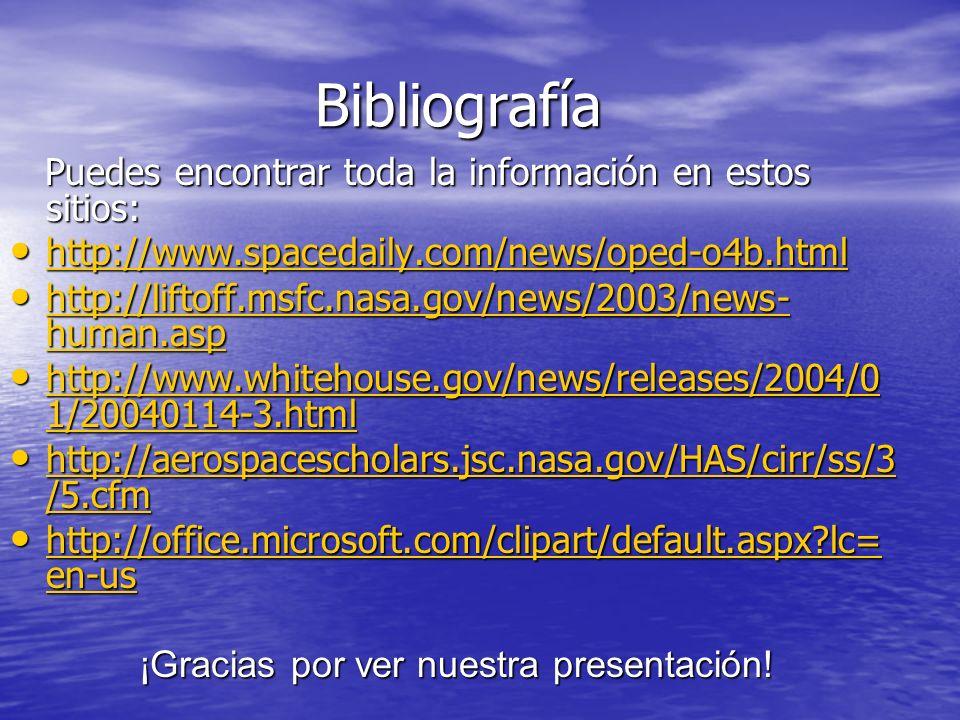 Bibliografía Bibliografía Puedes encontrar toda la información en estos sitios: Puedes encontrar toda la información en estos sitios: http://www.spacedaily.com/news/oped-o4b.html http://www.spacedaily.com/news/oped-o4b.html http://www.spacedaily.com/news/oped-o4b.html http://liftoff.msfc.nasa.gov/news/2003/news- human.asp http://liftoff.msfc.nasa.gov/news/2003/news- human.asp http://liftoff.msfc.nasa.gov/news/2003/news- human.asp http://liftoff.msfc.nasa.gov/news/2003/news- human.asp http://www.whitehouse.gov/news/releases/2004/0 1/20040114-3.html http://www.whitehouse.gov/news/releases/2004/0 1/20040114-3.html http://www.whitehouse.gov/news/releases/2004/0 1/20040114-3.html http://www.whitehouse.gov/news/releases/2004/0 1/20040114-3.html http://aerospacescholars.jsc.nasa.gov/HAS/cirr/ss/3 /5.cfm http://aerospacescholars.jsc.nasa.gov/HAS/cirr/ss/3 /5.cfm http://aerospacescholars.jsc.nasa.gov/HAS/cirr/ss/3 /5.cfm http://aerospacescholars.jsc.nasa.gov/HAS/cirr/ss/3 /5.cfm http://office.microsoft.com/clipart/default.aspx lc= en-us http://office.microsoft.com/clipart/default.aspx lc= en-us http://office.microsoft.com/clipart/default.aspx lc= en-us http://office.microsoft.com/clipart/default.aspx lc= en-us ¡Gracias por ver nuestra presentación.