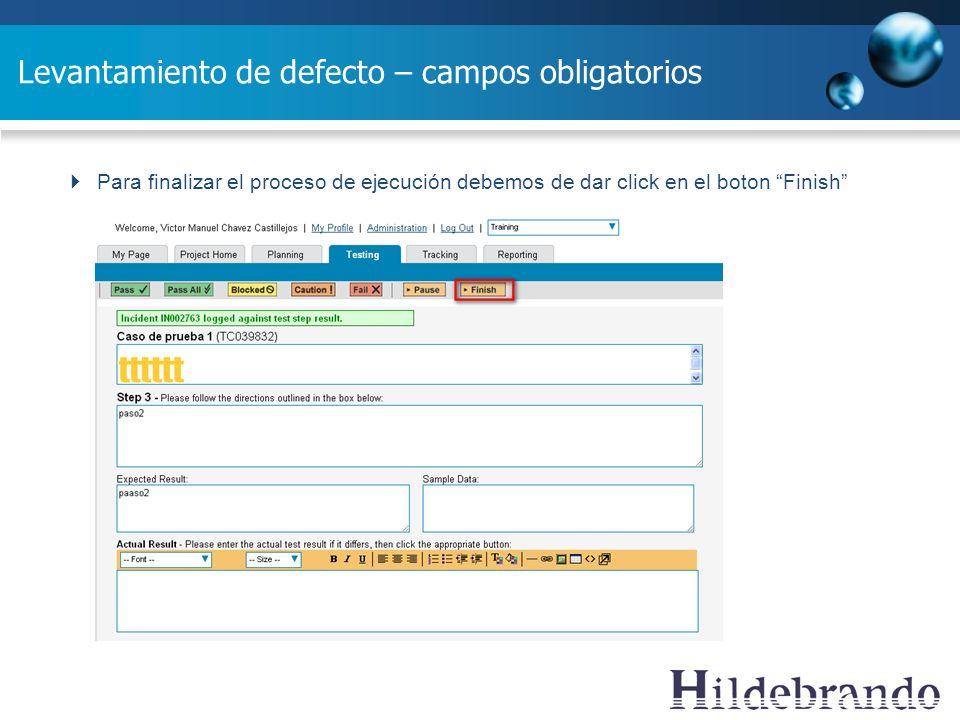 Levantamiento de defecto – campos obligatorios Para finalizar el proceso de ejecución debemos de dar click en el boton Finish