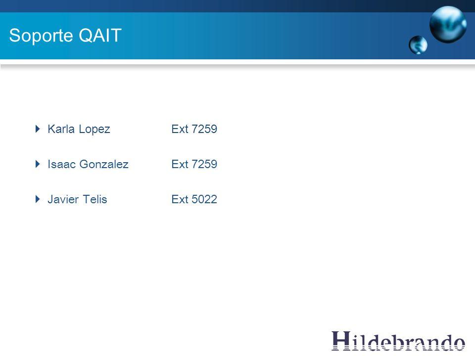 Soporte QAIT Karla Lopez Ext 7259 Isaac Gonzalez Ext 7259 Javier Telis Ext 5022