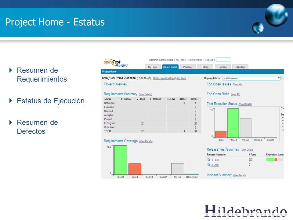 Project Home - Estatus Resumen de Requerimientos Estatus de Ejecución Resumen de Defectos