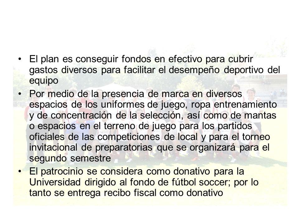 El plan es conseguir fondos en efectivo para cubrir gastos diversos para facilitar el desempeño deportivo del equipo Por medio de la presencia de marc