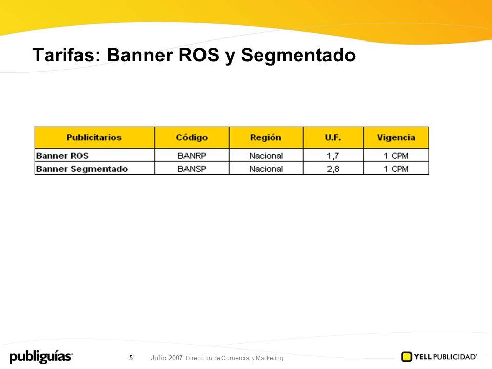 Julio 2007 Dirección de Comercial y Marketing 5 Tarifas: Banner ROS y Segmentado