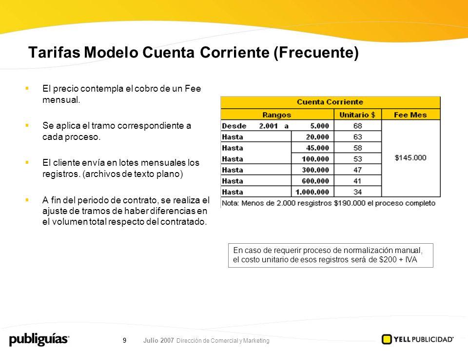 Julio 2007 Dirección de Comercial y Marketing 9 Tarifas Modelo Cuenta Corriente (Frecuente) El precio contempla el cobro de un Fee mensual.