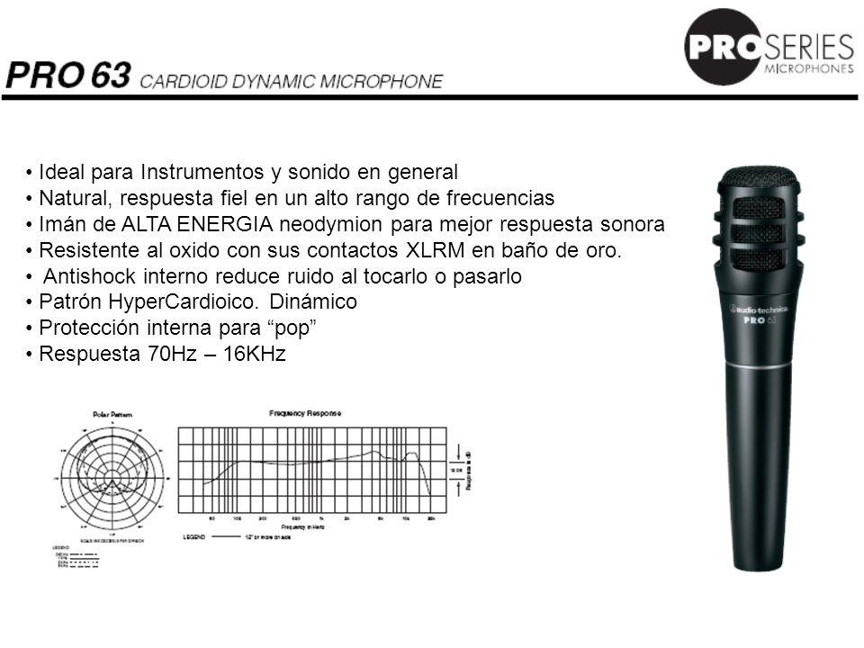 Ideal para Instrumentos y sonido en general Natural, respuesta fiel en un alto rango de frecuencias Imán de ALTA ENERGIA neodymion para mejor respuest