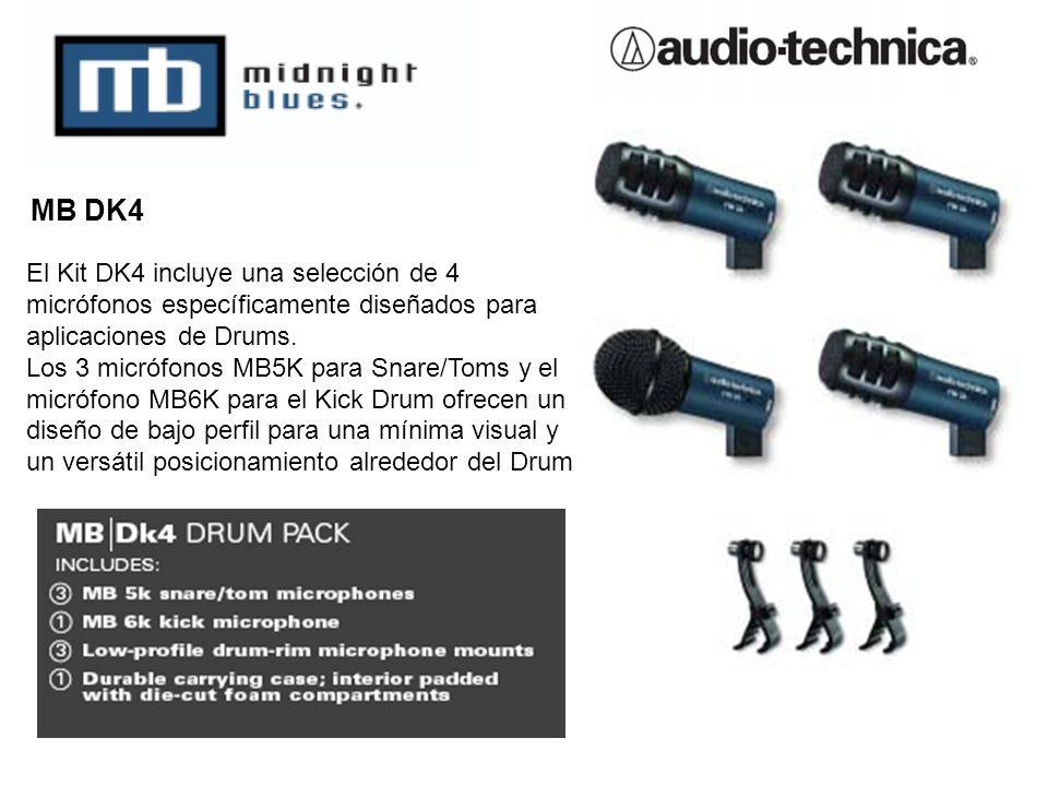El Kit DK4 incluye una selección de 4 micrófonos específicamente diseñados para aplicaciones de Drums. Los 3 micrófonos MB5K para Snare/Toms y el micr
