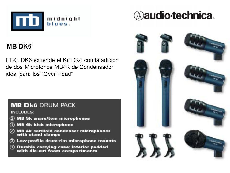 El Kit DK6 extiende el Kit DK4 con la adición de dos Micrófonos MB4K de Condensador ideal para los Over Head MB DK6