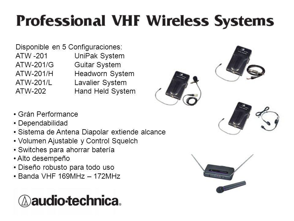Disponible en 5 Configuraciones: ATW -201 UniPak System ATW-201/G Guitar System ATW-201/HHeadworn System ATW-201/LLavalier System ATW-202Hand Held Sys